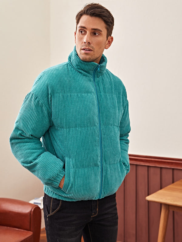 Drop Shoulder Pocket Side Cord Puffer Jacket - 𝐄𝐑𝐔𝐌𝐉𝐔𝐒
