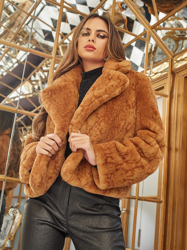Notch Collar Solid Faux Fur Coat - 𝐄𝐑𝐔𝐌𝐉𝐔𝐒