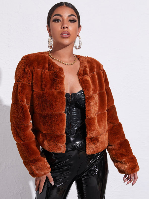 Open Front Solid Faux Fur Coat - 𝐄𝐑𝐔𝐌𝐉𝐔𝐒