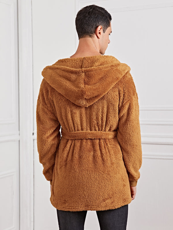 Open Front Belted Hooded Teddy Coat - 𝐄𝐑𝐔𝐌𝐉𝐔𝐒