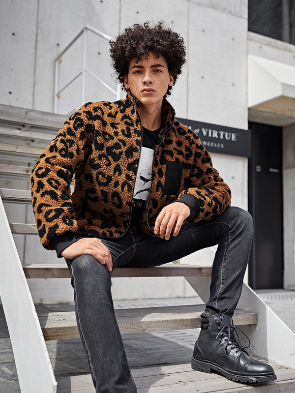 Classy Men Zipper Patch Pocket Leopard Pattern Teddy Jacket - 𝐄𝐑𝐔𝐌𝐉𝐔𝐒