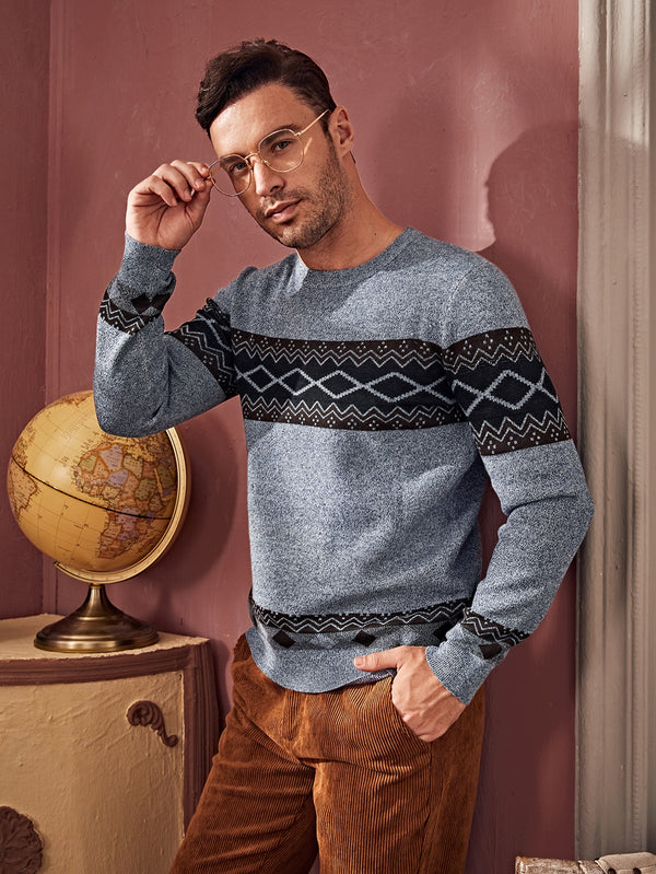 Classy Men Argyle Pattern Color Block Sweater - 𝐄𝐑𝐔𝐌𝐉𝐔𝐒