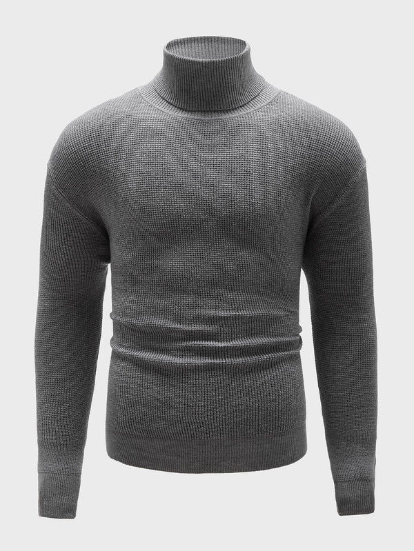 Classy Men High Neck Solid Sweater - 𝐄𝐑𝐔𝐌𝐉𝐔𝐒