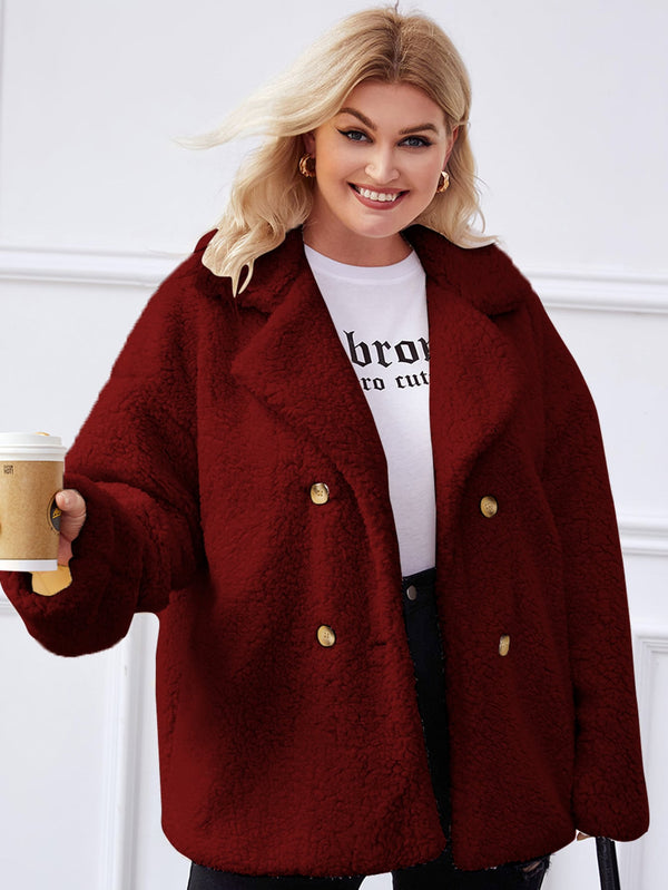 Plus Double Breasted Lapel Collar Drop Shoulder Teddy Coat - 𝐄𝐑𝐔𝐌𝐉𝐔𝐒