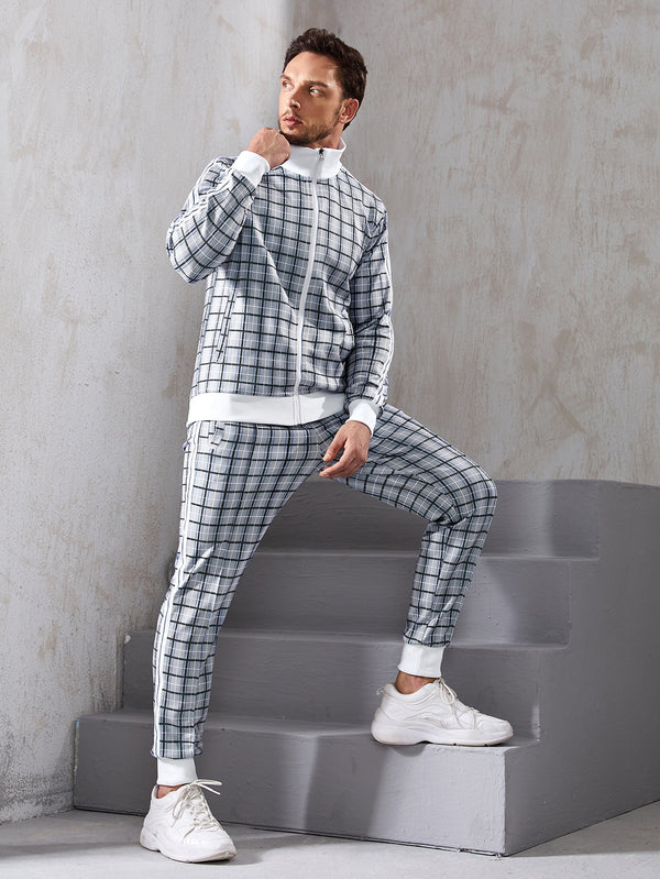 Men Plaid Sports Jacket & Side Stripe Sweatpants - 𝐄𝐑𝐔𝐌𝐉𝐔𝐒