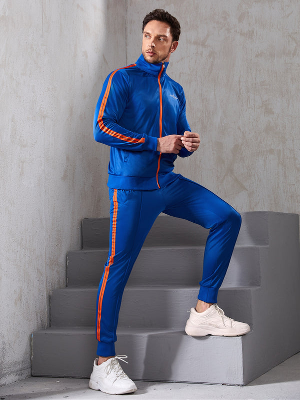 Men Side Stripe Sports Jacket & Sweatpants - 𝐄𝐑𝐔𝐌𝐉𝐔𝐒