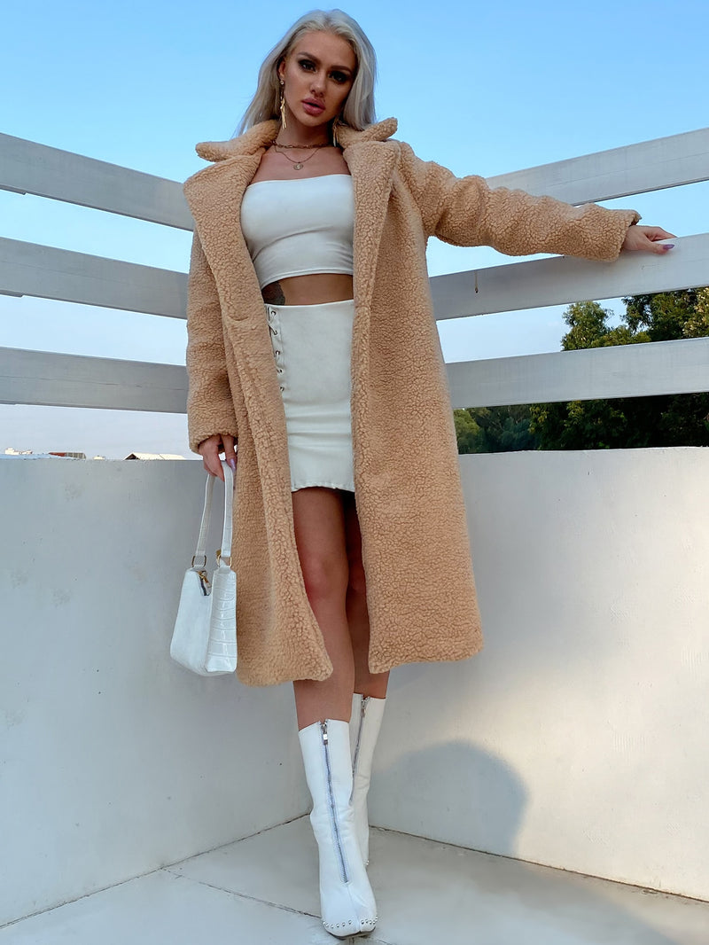 Single Button Teddy Midi Coat - 𝐄𝐑𝐔𝐌𝐉𝐔𝐒