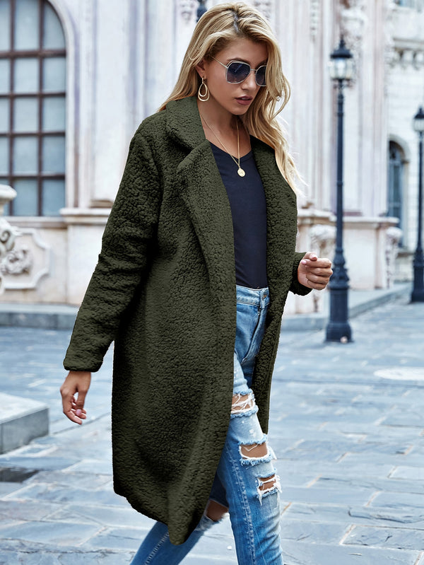 Faux Shearling Open-Front Longline Teddy Coat - 𝐄𝐑𝐔𝐌𝐉𝐔𝐒