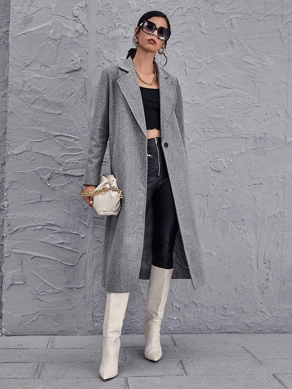 Notched Collar Single Button Overcoat - 𝐄𝐑𝐔𝐌𝐉𝐔𝐒