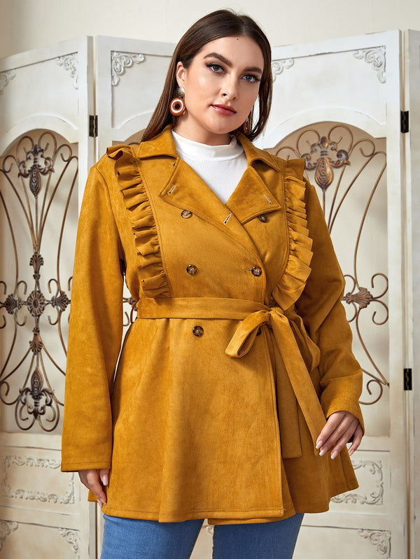 Plus Notch Collar Ruffle Detail Belted Suede Coat - 𝐄𝐑𝐔𝐌𝐉𝐔𝐒
