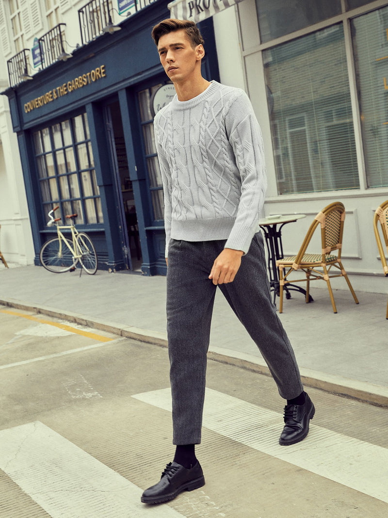Men Solid Cable Knit Sweater - 𝐄𝐑𝐔𝐌𝐉𝐔𝐒