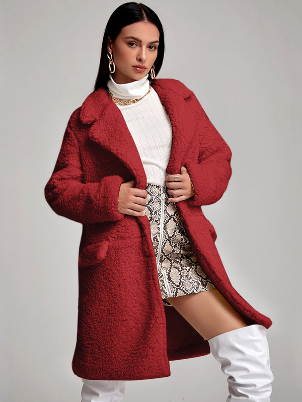 Lapel Collar Flap Detail Teddy Coat - 𝐄𝐑𝐔𝐌𝐉𝐔𝐒