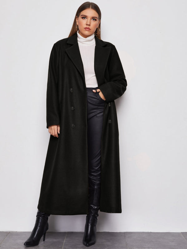 Plus Lapel Collar Longline Pea Coat - 𝐄𝐑𝐔𝐌𝐉𝐔𝐒