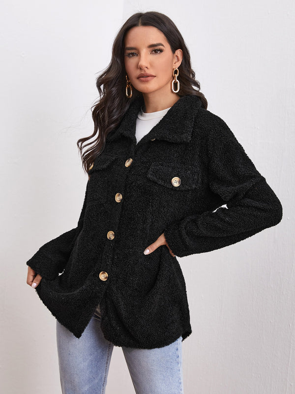 Solid Button Through Teddy Coat - 𝐄𝐑𝐔𝐌𝐉𝐔𝐒
