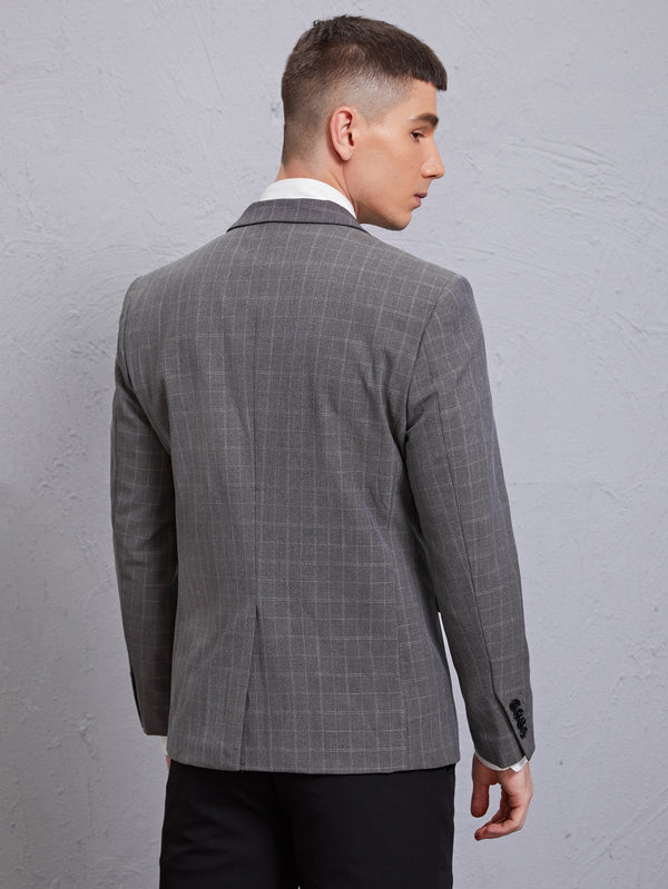 Classy Men Plaid Single Button Blazer - 𝐄𝐑𝐔𝐌𝐉𝐔𝐒