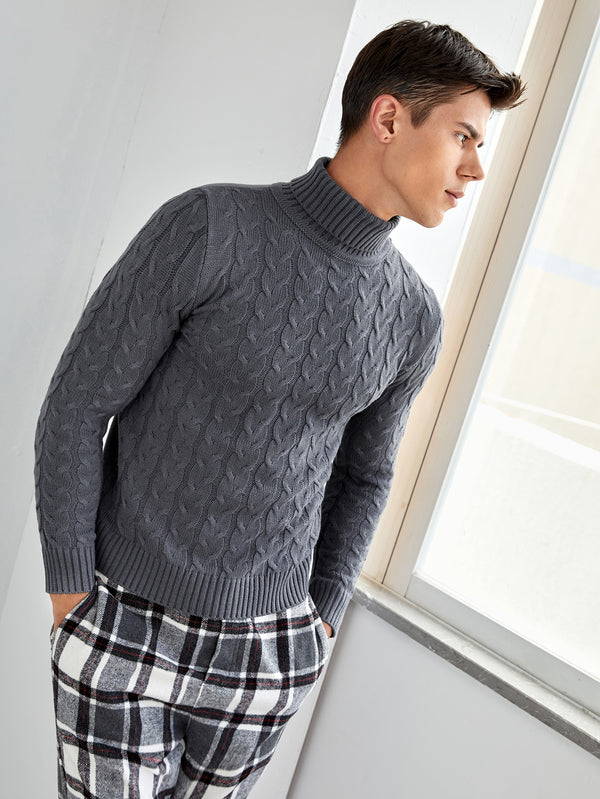 Classy Men Turtle Neck Cable Knit Sweater - 𝐄𝐑𝐔𝐌𝐉𝐔𝐒