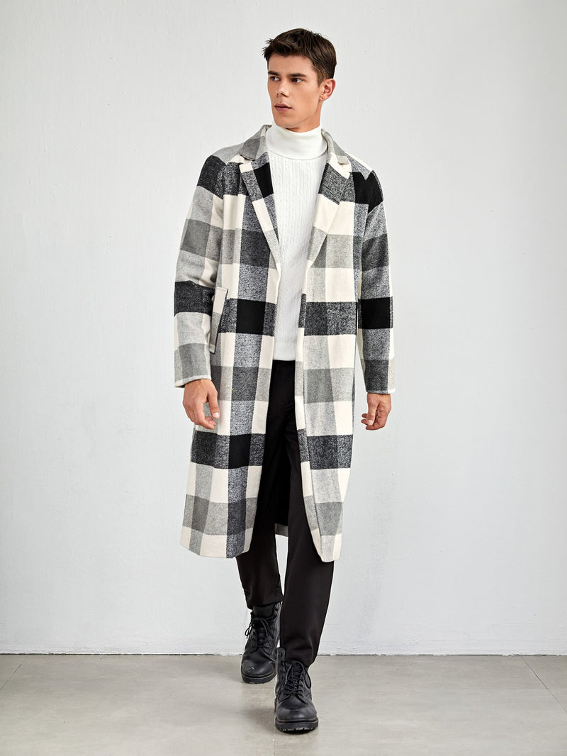 Gingham Wool-Mix Fabric Overcoat - 𝐄𝐑𝐔𝐌𝐉𝐔𝐒