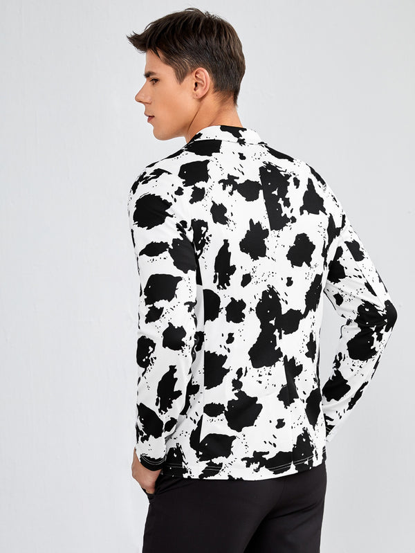 Classy Men Cow Print Notch Collar Blazer - 𝐄𝐑𝐔𝐌𝐉𝐔𝐒