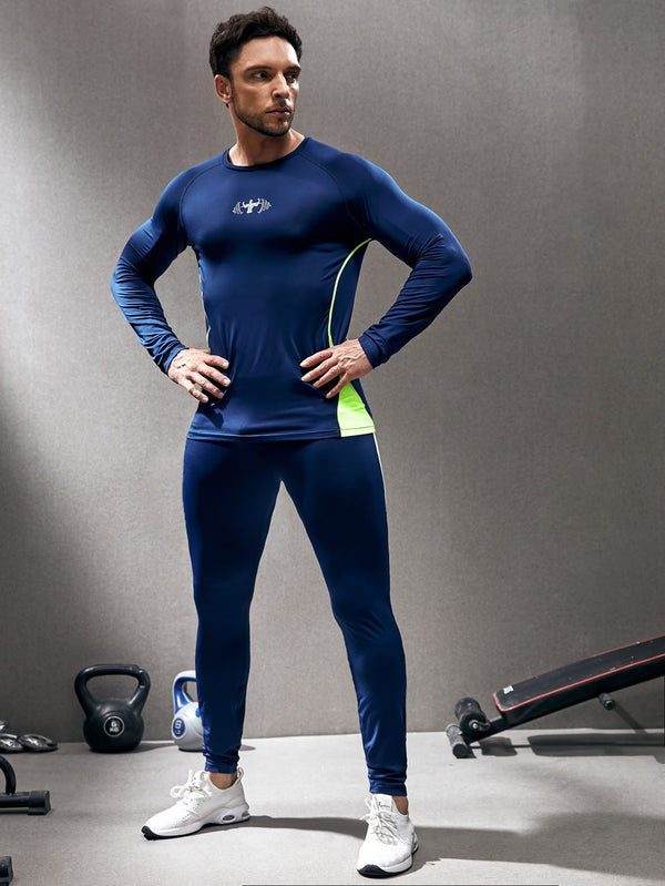 Men Topstitching Colorblock Sports Set - 𝐄𝐑𝐔𝐌𝐉𝐔𝐒