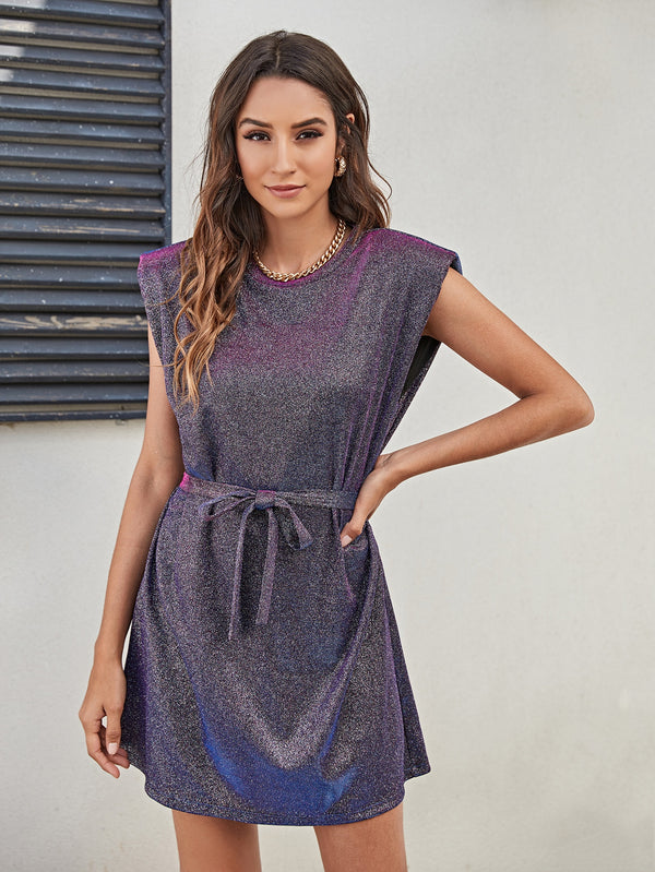 Shoulder Padded Self Belted Glitter Dress - 𝐄𝐑𝐔𝐌𝐉𝐔𝐒