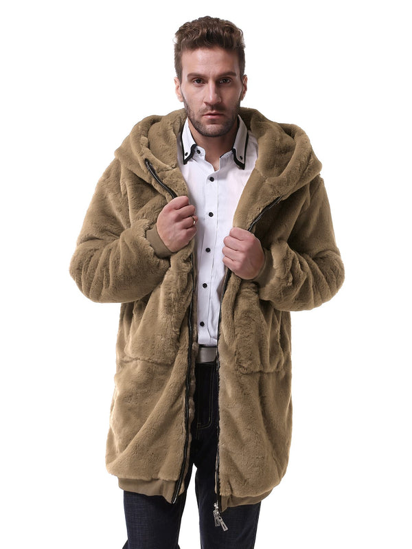 Zip Up Hooded Faux Fur Coat - 𝐄𝐑𝐔𝐌𝐉𝐔𝐒