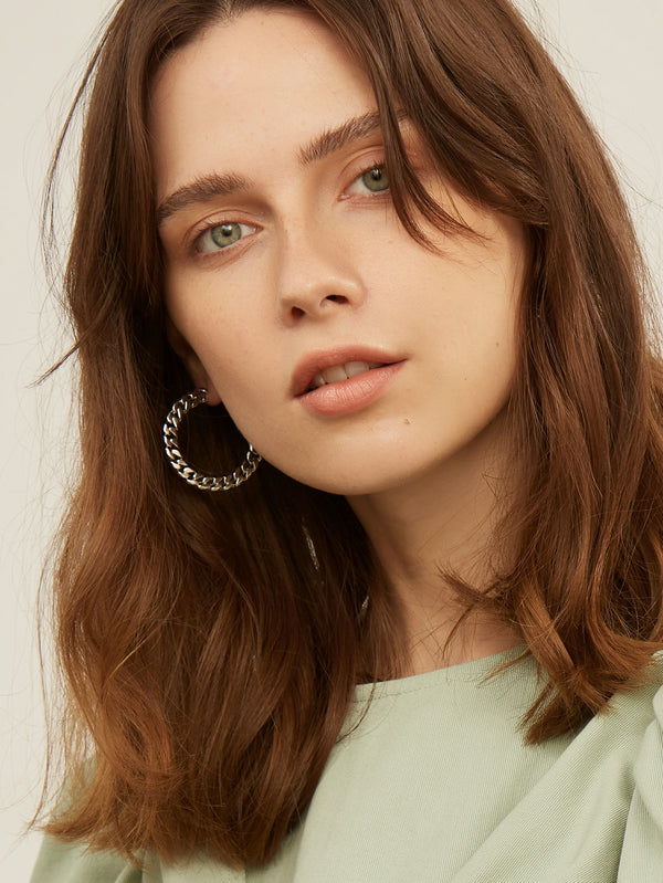 Premium Chain Open Hoop EARRINGS - 𝐄𝐑𝐔𝐌𝐉𝐔𝐒