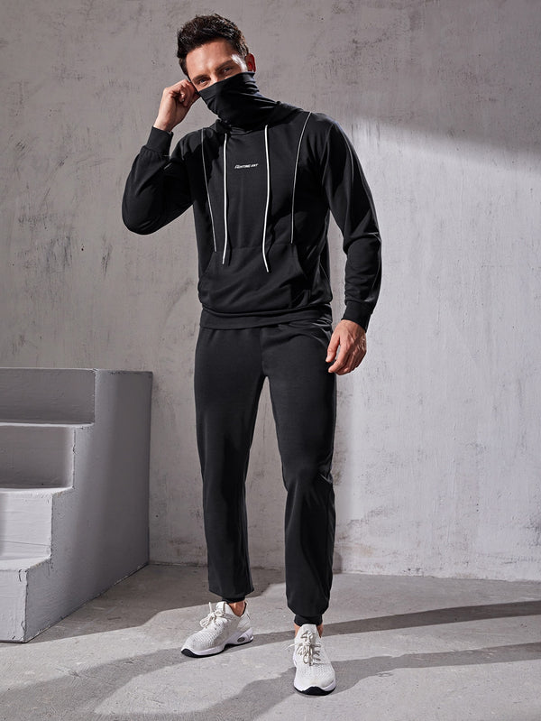 Men Letter Graphic Sports Hoodie With Neck Warmer & Sweatpants - 𝐄𝐑𝐔𝐌𝐉𝐔𝐒