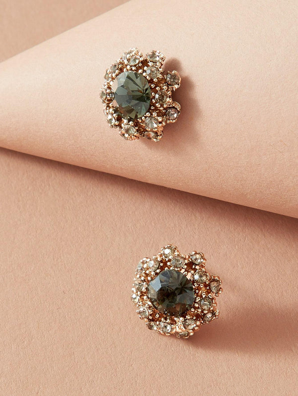 1pair Gemstone Decor Stud Earrings - 𝐄𝐑𝐔𝐌𝐉𝐔𝐒