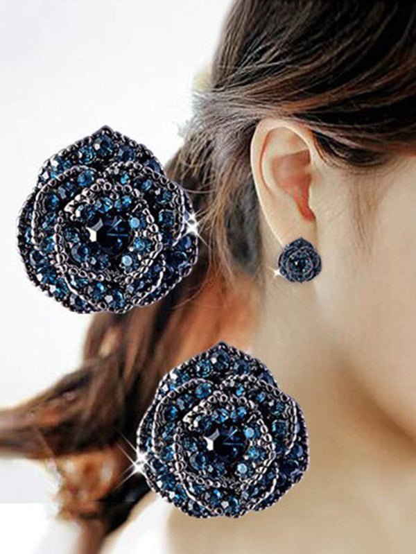 1pair Rhinestone Decor Flower Stud Earrings - 𝐄𝐑𝐔𝐌𝐉𝐔𝐒