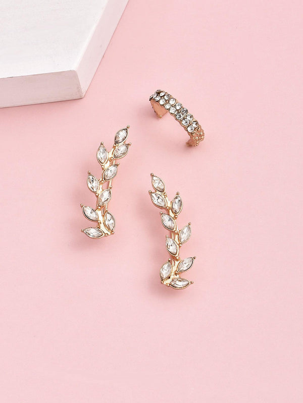 1pair Rhinestone Leaf Earrings & 1pc Ear Cuff - 𝐄𝐑𝐔𝐌𝐉𝐔𝐒