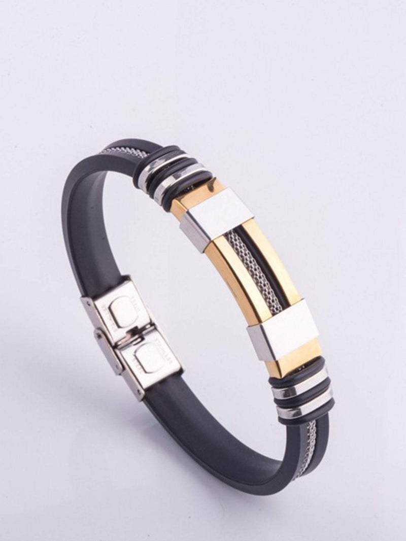 1pc Men Stainless Steel Silicone Bangle - 𝐄𝐑𝐔𝐌𝐉𝐔𝐒