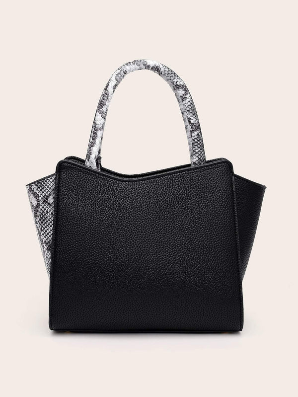 2pcs Satchel Bag With Snakeskin Purse - 𝐄𝐑𝐔𝐌𝐉𝐔𝐒