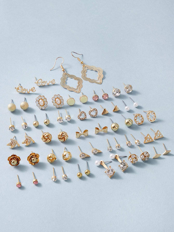 30pairs Flower & Bow Knot Design Earrings - 𝐄𝐑𝐔𝐌𝐉𝐔𝐒