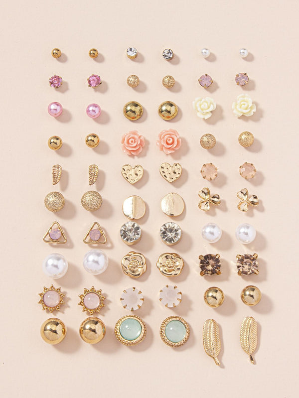 30pairs Flower & Faux Pearl Detail Stud Earrings - 𝐄𝐑𝐔𝐌𝐉𝐔𝐒