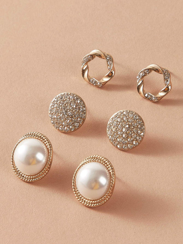 3pairs Pearl Decor Stud Earrings - 𝐄𝐑𝐔𝐌𝐉𝐔𝐒