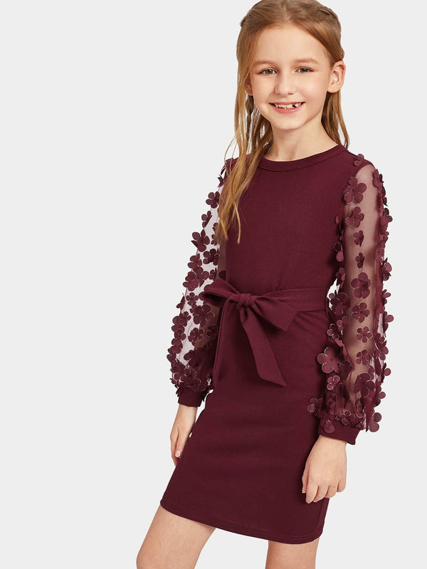 Girls Appliques Mesh Sleeve Self Belted Dress - 𝐄𝐑𝐔𝐌𝐉𝐔𝐒