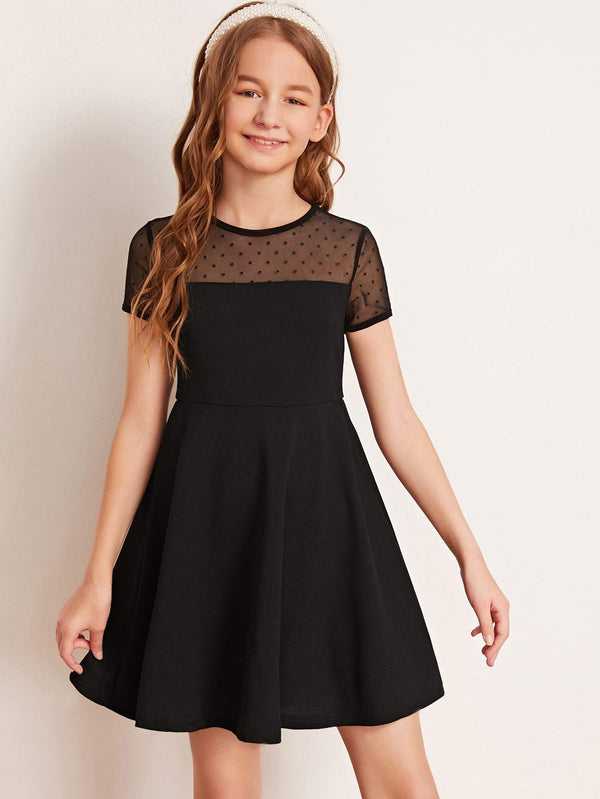 Girls Dobby Mesh Yoke Solid Dress - 𝐄𝐑𝐔𝐌𝐉𝐔𝐒