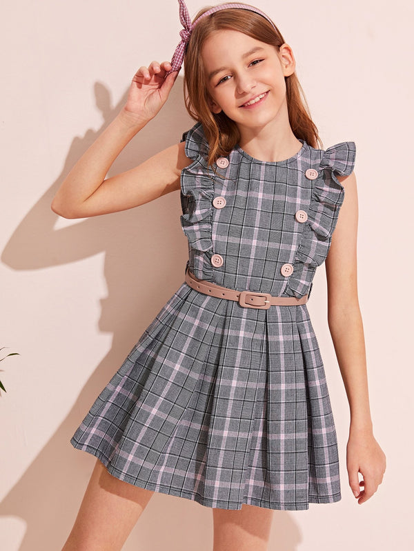 Girls Double Breasted Ruffle Trim Plaid Belted Dress - 𝐄𝐑𝐔𝐌𝐉𝐔𝐒