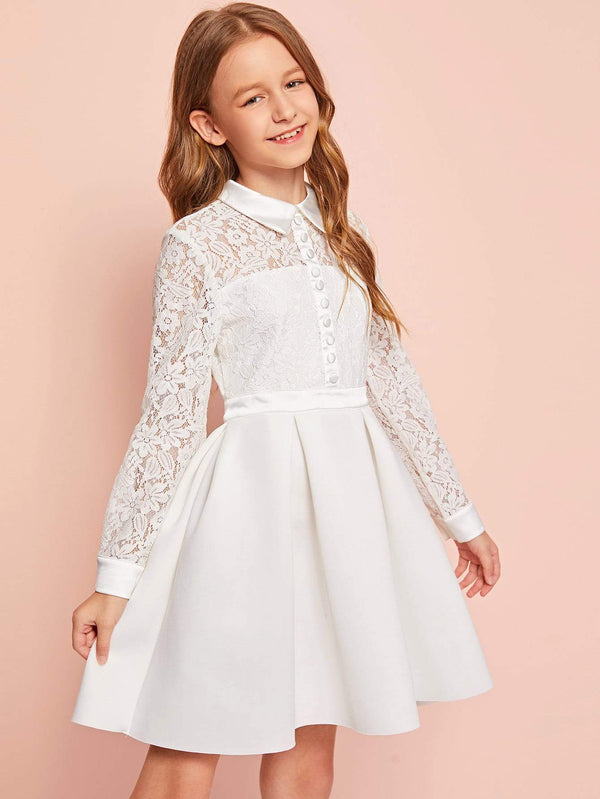 Girls Floral Lace Bodice Button Detail Boxy Pleated Dress - 𝐄𝐑𝐔𝐌𝐉𝐔𝐒