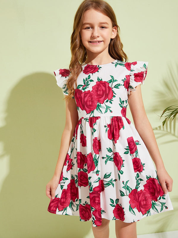 Girls Floral Print Fit and Flare Dress - 𝐄𝐑𝐔𝐌𝐉𝐔𝐒