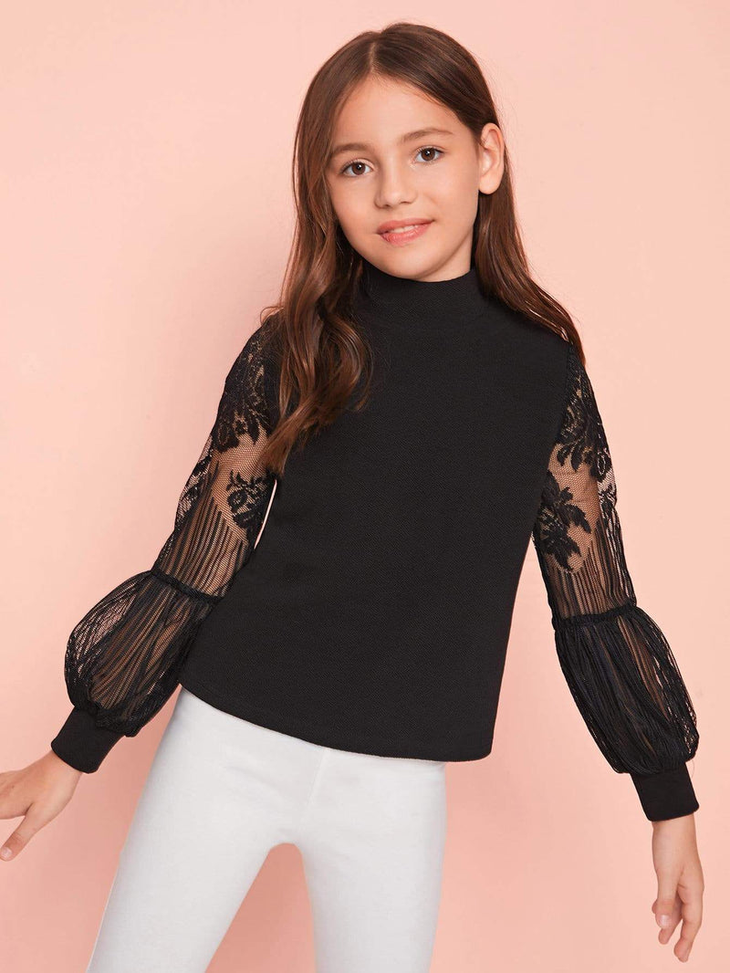 Girls Lace Lantern Sleeve Zip Back Top - 𝐄𝐑𝐔𝐌𝐉𝐔𝐒