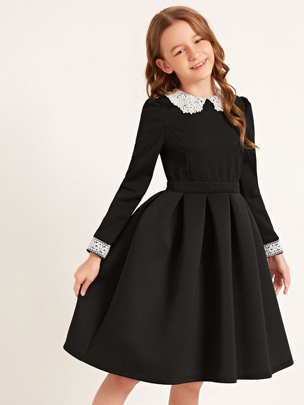 Girls Lace Peter Pan Collar Applique Boxy Pleated Dress - 𝐄𝐑𝐔𝐌𝐉𝐔𝐒