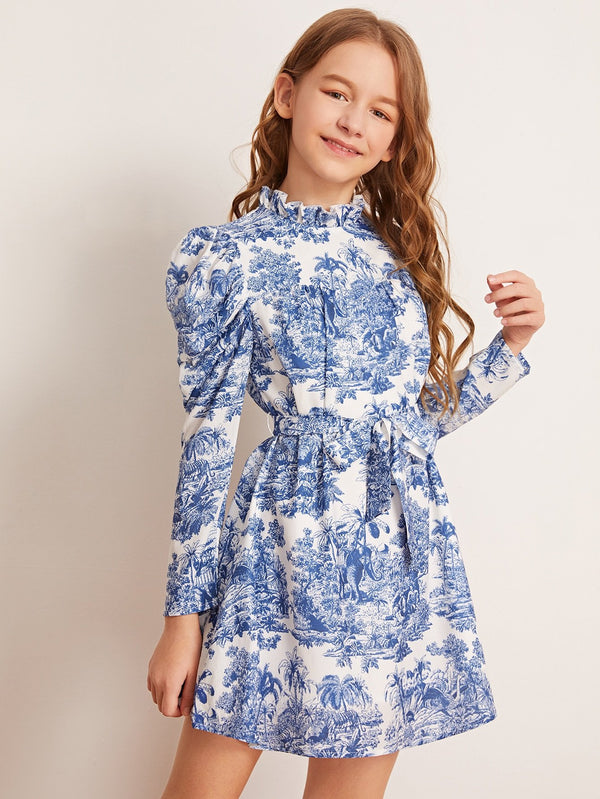 Girls Landscape Print Gigot Sleeve Self Belted Dress - 𝐄𝐑𝐔𝐌𝐉𝐔𝐒