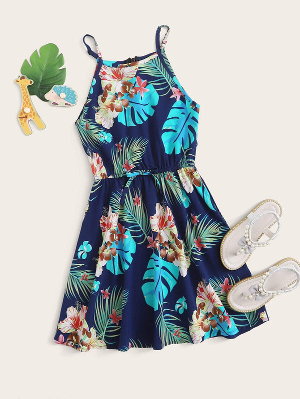Girls Tropical Print Cami Dress - 𝐄𝐑𝐔𝐌𝐉𝐔𝐒
