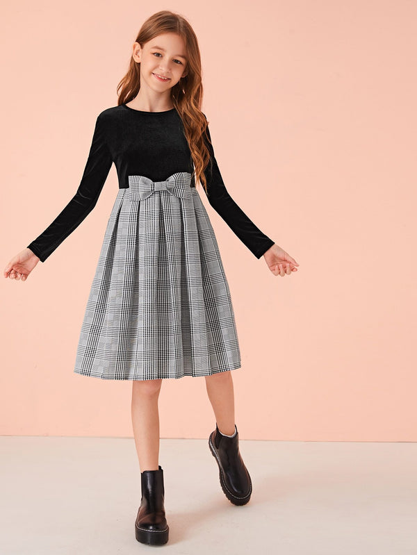 Girls Velvet Bodice Bow Detail Plaid Combo Dress - 𝐄𝐑𝐔𝐌𝐉𝐔𝐒