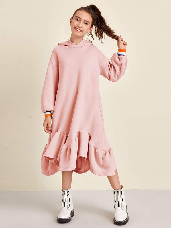 Girls Drop Shoulder Hanky Ruffle Hem Hooded Sweatshirt Dress - 𝐄𝐑𝐔𝐌𝐉𝐔𝐒