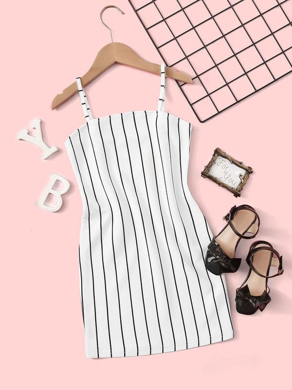 Girls Striped Slip Dress - 𝐄𝐑𝐔𝐌𝐉𝐔𝐒