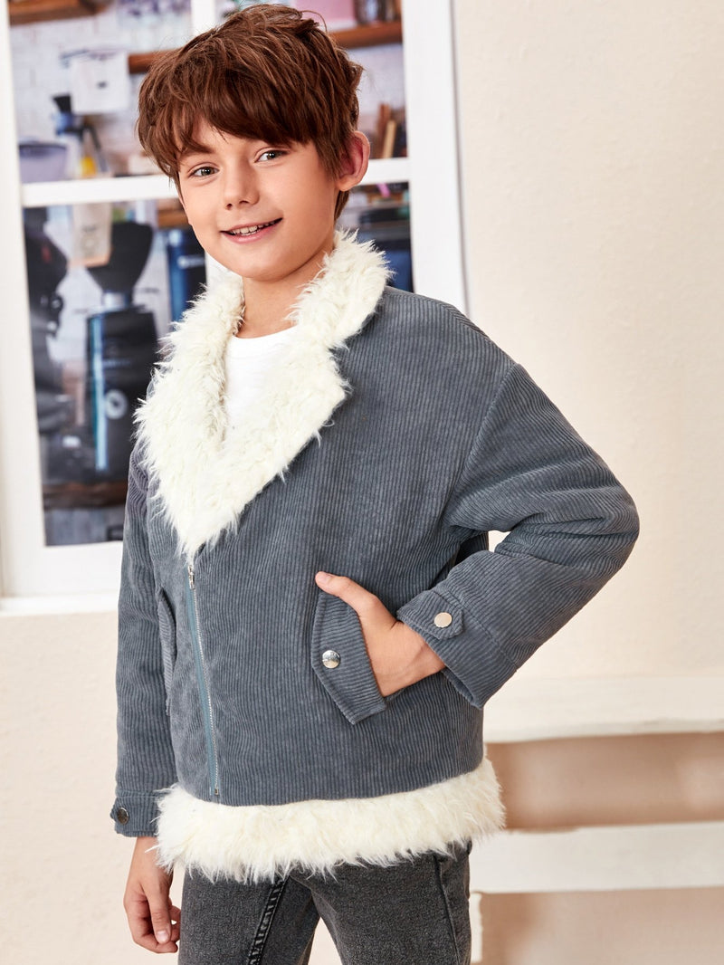 Boys Faux Shearling Lined Cord Moto Jacket - 𝐄𝐑𝐔𝐌𝐉𝐔𝐒