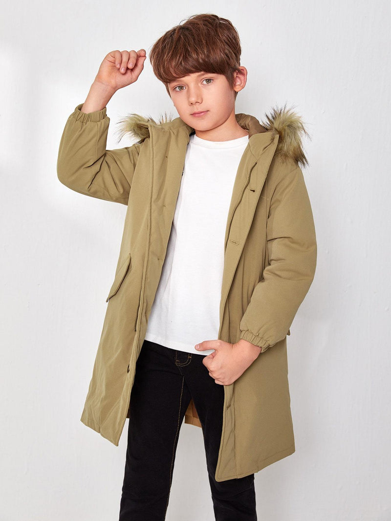 Boys Single Breasted Parka Coat - 𝐄𝐑𝐔𝐌𝐉𝐔𝐒