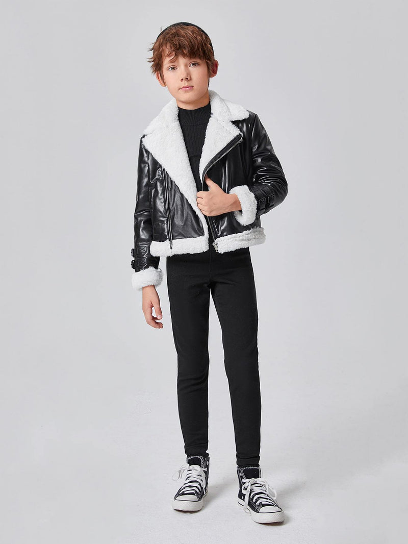 Boys Zip Up PU Leather Moto Jacket - 𝐄𝐑𝐔𝐌𝐉𝐔𝐒